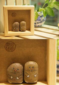 石趣部落手绘石头  可爱情侣小猫猫  QQ249635143