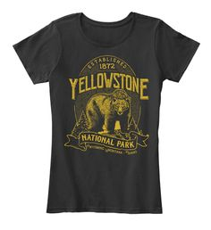 Yellowstone National Park Bear Black T-Shirt Front