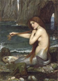 I saw a HUGE print in oil of this mermaid by John William Waterhouse in Homer years ago, it was almost 500 bucks, I wanted it so badly. I found a few years later an 8x10 of this but it was left behind when i moved. I love this piece...