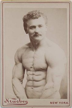 Eugen Sandow – Newsboy Cabinet Card Eugen Sandow was the 19th century prototype strongman and body builder. This cabinet card was issued by National Tobacco Works of New York City to advertise Newsboy Tobacco.
