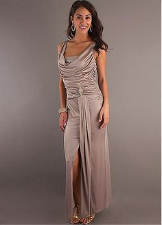Buy discount Glamorous Stretch Charmeuse Sheath Cowl Neckline Mother of the Bride Dress at Dressilyme.com