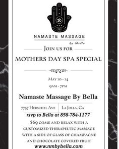 TODAY LAST DAY!!! If you want to WIN or GIVE IT AS A GIFT... FOLLOW THE INSTRUCTIONS  WIN A MOTHERS DAY MASSAGE!!! INSTRUCTIONS BELOW . 1.Like this page(the giveaway pic) 2.Follow this page 3.Write NAMASTE on this pic post 4.Share this picture with a friend  Winner will be announced by 5/5/17 #giveaway #free #massage for #mothersday #wife #sister #girlfriend #awesome #winit #relaxation #aromatherapy #mom #deserves it #namastemassagebybella #complementary #champagne #chocolatecoveredfruit…