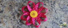 Ribbon and button flower hair clips