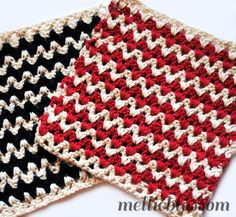 These V-stitch dishcloths are great for a cottage chic theme. Try it in our Kitchen Cotton yarn. Pattern by Mellie Blossom.