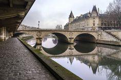 Paris, France - Quai des Orfèvres on a misty morning