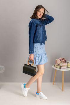 autumn | summer outfit | autumn outfit | spring outfit | autumn fashion | womensoutfit | casual outfit | women autumn outfit | blue dress | madeira dress | denim jacket | grey handbag | black handbag | white sneakers | outfit inspo #ootd #factcooloutfit Denim Jacket With Dress, Gray Jacket, White Sneakers Outfit, Spring Outfits, Blue Dresses, Autumn Fashion, Casual Outfits, Clothes For Women, Jackets