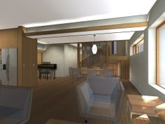 drop ceiling effect for indirect lighting Tom Bassett-Dilley Architect: Interior, Passive House in River Forest
