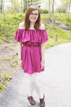 An On Trend DIY Off The Shoulder Dress Off The Shoulder, Shoulder Dress, Ruffle Blouse, How To Make, Diy, Inspiration, Style, Dresses, Fashion