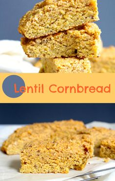 Lentil Cornbread - #glutenfree and #vegan, a healthy twist on the traditional cornbread. Great with soup and chili!