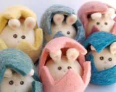 Pink Easter Bunny Egg Rabbit Toy Needle Felted Wool by Fairyfolk, $35.00