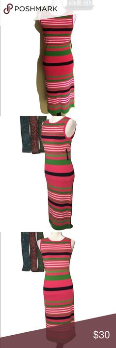 NY&Co  Sleeveless Striped Maxi Dress large NY & Co  New York & Company Sleeveless Maxi Dress Size Large New with tags NWT Total length is about 44 inches, underarm to underarm is about 15 inches 63% Rayon, 37% Nylon Bodycon horizontal stripes, vertically ribbed, one side slit Colors: salmon, light pink, green and black. Great for Spring and Summer Questions? Please ask prior to purchasing. New York & Company Dresses Maxi