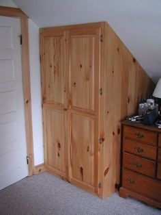 1of 4 pine closets built to fit rooms with slanted ceilings   Note: door trim