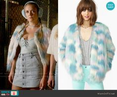 Chanel 3's multi colored fur jacket on Scream Queens.  Outfit Details: https://wornontv.net/59757/ #ScreamQueens
