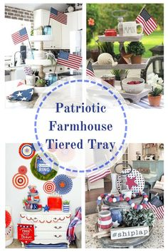 Honor Old Glory as it plays a big part in decor on a patriotic farmhouse tiered tray. Get ready for a little American Red, White & Blue pride! Easy elegant trays are perfect for of July decorating, memorial, flag, and labor day. Fun additions for pa Elegant Home Decor, Elegant Homes, Diy Home Decor, Room Decor, Patriotic Decorations, House Decorations, Patriotic Crafts, American Flag Decor, Craft Projects For Adults