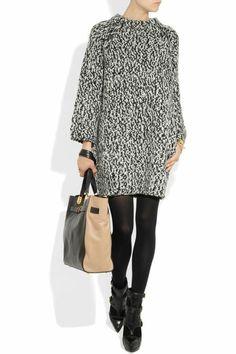 robe en laine hiver mini en noir et blanc effet gros pull chaud