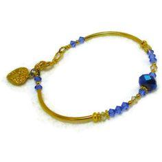 Sapphire swarovski crystal bracelet by MiSuenos on Etsy, $7.50