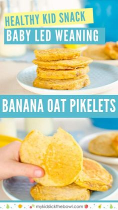 Banana Oat Pikelets for kids and babies Sugar free snack. Baby Led Weaning Mini Pancakes Perfect finger food sweetened only with fresh fruit