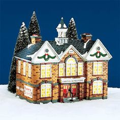 """Department 56: Products - """"Christmas Lake High School"""" - View Lighted Buildings"""