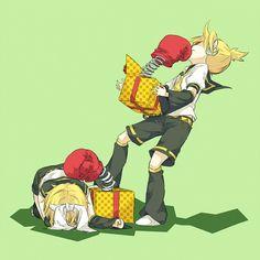 Tags: Anime, Pixiv Id 3834784, Vocaloid, Kagamine Rin, Kagamine Len, Punching, Box