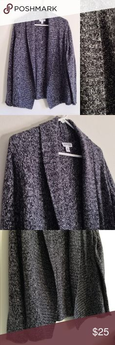 """Black Marbled Sweater Open Cardigan Black, grey and white marbled open cardigan. Soft. Cozy. 53% acrylic 45% Polyester and 2% other fiber. No stains or holes. Measurement laying flat: length: 30"""" St. John's Bay Sweaters Cardigans"""