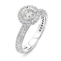 2.46 Carat Halo Design Pavé Set Diamond Engagement Ring in Platinum – Shimansky Engagement Ring Styles, Diamond Engagement Rings, Platinum Metal, Ring Crafts, Custom Jewelry Design, Fashion Rings, Diamond Jewelry, White Gold, Halo
