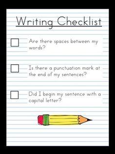 Writing Checklist - Kindergarten/Grade One - Free