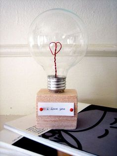 Light Bulb Valentine -seems kind of like a bit of work to take it apart but what a cute and original idea! Love this!