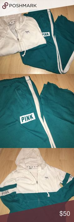"Victorias Secret Sweatsuit Victoria's Secret boyfriend pants size small, sweatshirt size medium. Teal, grey and cream/white colored. Teal colored pants with a white stripe down each leg. The bottom of the pants look ""distressed"". The jacket is cream on top and teal on the bottom. Each arm has a green stripe in between to break up the color. Grey dog logo top left side of the jacket. Worn a handful of times, no damage done, small stain as seen in bottom pic. WILL WASH ITEM AGAIN BEFORE…"