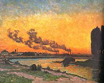 This is Soleil couchant à Ivry by Armand Guillaumin. Born in Paris in 1841 he was a contemporary and close friend of Paul Cezann. Renoir, French Impressionist Painters, Impressionist Paintings, Manet, Claude Monet, Francis Poulenc, Oil Painting Reproductions, Art Moderne, Western Art