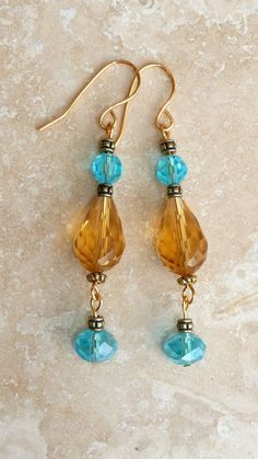 Genuine Swarovski 5000 Czec Crystal Blue and Gold by IslandGirl77, $18.99#ISLANDGIRLJEWELRYDESIGN