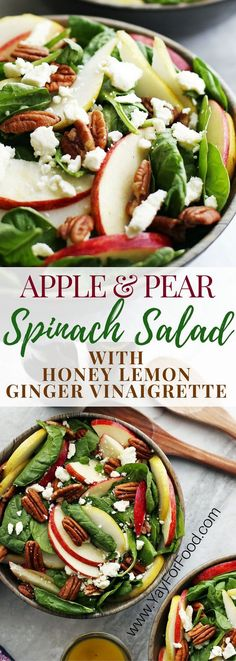 and Pear Spinach Salad with Honey Lemon Ginger Vinaigrette A healthy and delicious fall salad featuring crisp sweet apple and pear, creamy and salty feta cheese, and crunchy pecans! A homemade dressing perfectly compliments this quick-to-make salad. Fall Recipes, New Recipes, Cooking Recipes, Fall Vegetarian Recipes, Cooking Ideas, Vegetarian Salad Recipes, Tuna Recipes, Autumn Recipes Salad, Recipies