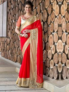 Red Georgette Saree with Zari Work