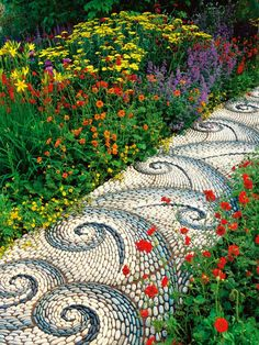Colorful Flower Garden with Mosaic Pebble Walkway