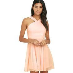 Forevermore Peach Skater Dress (395 CNY) ❤ liked on Polyvore featuring dresses, pink, flared skater skirt, pink skater dress, skater dress, pink dress and flared skirt
