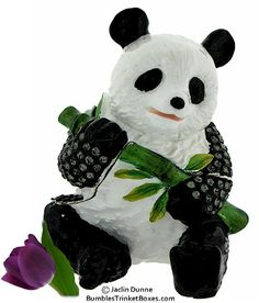Trinket Box: Giant Panda With Bamboo