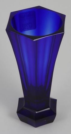 "Early 20th Century Moser cobalt facet cut glass vase, 5 3/4""h., acid etched ""Moser"" signature on bottom / SOLD $70"