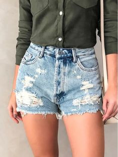 Shorts-Jeans-sh-Asker - My Style - Denim Shorts Style, Jean Shorts, Denim Jeans, Girl Fashion, Fashion Outfits, Womens Fashion, Friends Fashion, Jeans Fashion, Fashion Sale