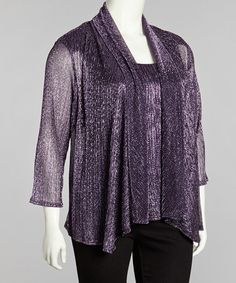 Take a look at this Purple & Black Metallic Layered Top - Plus by R&M Richards on #zulily today!