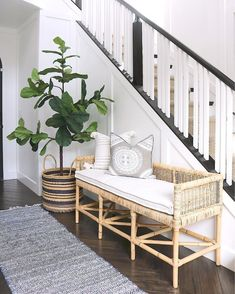 Give your pillowscape a beachy home. A natural for the entryway and perfect for the sun porch, our bench has that breezy look we love. The low back and tailored arms are a nice touch, keeping the proportions light and airy. Porch And Foyer, Architecture Design, Br House, Bench Decor, Bench In Entryway, Foyer Decorating, Home And Living, Living Room Decor, Living Room Bench