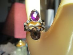Vintage Designer 2.55ctw Amethyst & Citrine Two-Tone 925 Sterling Silver Ring Sz 8.5, Wt. 5.4g
