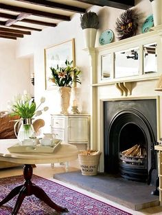 living room, great fireplace | tumblr