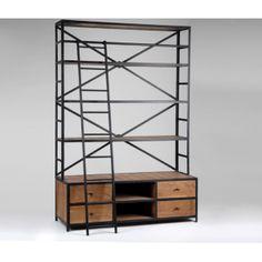 bibliotheque style industriel. Black Bedroom Furniture Sets. Home Design Ideas