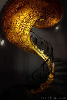 spiral staircase in gold. Stairway To Heaven, Escalier Art, Escalier Design, Beautiful Architecture, Art And Architecture, Architecture Details, Dubai Architecture, Staircase Architecture, Luxury Staircase