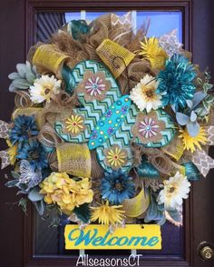 Dazzling Jeweled Butterfly Welcome Burlap Deco Mesh Wreath, Light Brown /Turquoise/Teal/Daffodil Yellow/Cream/White, Spring & Summer Wreath by AllSeasonsCT on Etsy Hydrangea Wreath, Turquoise Wreath, Summer Deco, Spring Summer, Wreath Hanger, Door Wreath, Wooden Welcome Signs, Witch Wreath