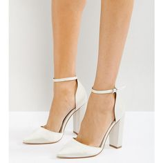ASOS PENALTY Bridal Pointed High Heels ($49) ❤ liked on Polyvore featuring shoes, pumps, cream, pointy toe ankle strap pumps, high heel pumps, pointed toe ankle strap pumps, block-heel pumps and pointy toe shoes