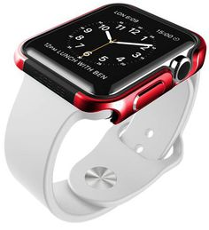 X-Doria Apple Watch Case (Defense Edge) Premium Aluminum and TPU Bumper Frame (Metallic Red) - Compatible with Apple Watch Series Series 2 and Nike+ Apple Watch 38mm, Apple Watch Silver, Best Apple Watch, Apple Watch Series 1, Smartwatch, Sport Watches, Cool Watches, Bluetooth, Accessoires Iphone