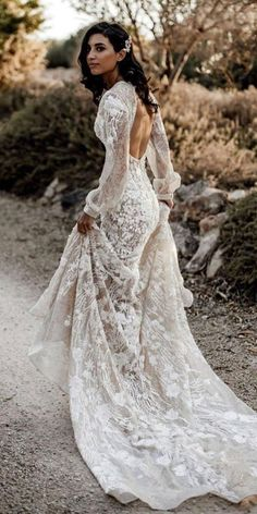 30 Best Lace Wedding Dresses With Sleeves ❤ lace wedding dresses with sleeves sheath open back with country with train tali photography ❤ Country Wedding Dresses, Long Wedding Dresses, Boho Wedding Dress, Wedding Dress Styles, Boho Dress, Bridal Dresses, Lace Dress, Backless Wedding, Wedding Beach