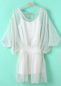 White Batwing Half Sleeve Bandeau Mesh Yoke Dress - Sheinside.com