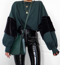 Right now, if it's green I probably want it. Pairing everything with these vinyl trousers at the moment, they are THE best pair. Cool Outfits, Fashion Outfits, Womens Fashion, Fashion Trends, Fashion Fashion, Vinyl Trousers, Looks Style, My Style, Pinterest Fashion