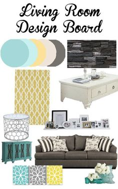 Home Decorating Inspiration Living Room and Main Floor Design Inspiration- aqua, teal, yellow and gr Living Room Colors, Living Room Grey, Home Living Room, Living Room Designs, Living Room Decor, Dining Room, Grey And Yellow Living Room, Yellow Couch, Living Walls
